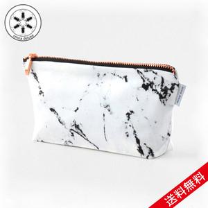 【送料無料】renna deluxe MARBLE bag Sサイズ W21cm × D4cm × H9cm マーブル ホワイト バッグ メイクアップバッグ ポーチ ペンシルケース ローズゴールドコッパージッパー