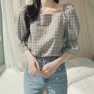 Square Collar Lattice Shirt T683