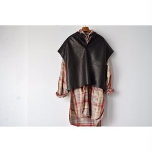 Simva108-0002-NVBK Leather/Cotton Tunic NavyBlack