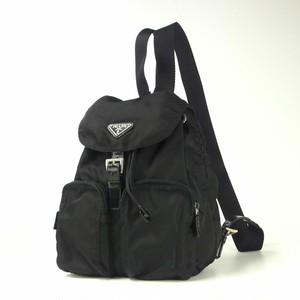 PRADA プラダ ナイロン ポコノ 巾着 三角 ロゴ メタルプレート リュックサック デイパック ブラック 黒 イタリア製