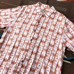 90年代 PUSSER'S ボックスシルエット ビンテージ 総柄 半袖リネン アロハシャツ Mサイズ表記 実寸L~XLサイズ ビッグサイズ