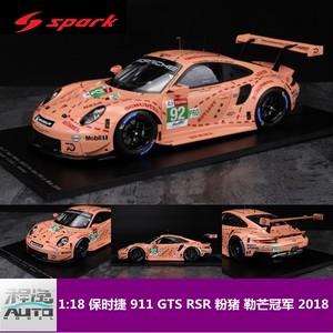 Spark 1:18 ポルシェPorsche 911 RSR ル・マンチャンピオンピンクモデル