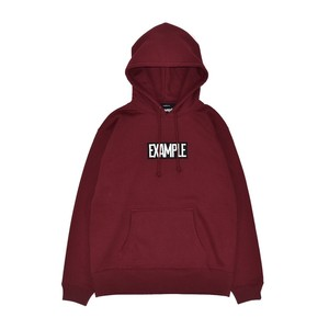 SQUARE EMBROIDERY LOGO HOODIE / BURGUNDY