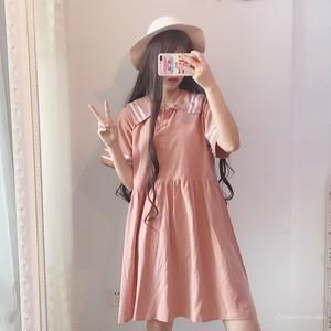 【ワンピース】無地セーラーカラーAラインファッション半袖ワンピース