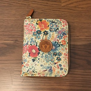 A.R.Florence~花柄財布 二つ折りファスナー ベージュ