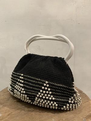 40's crochet beaded handbag(b143)