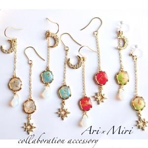 Ari×miriコラボ 星座タイプ別カラー揺れる月星ピアス(イヤリング)