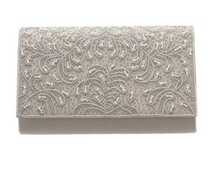 DorryDoll ビジュー刺繍フラップサテンクラッチバッグ 9206