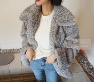レオパードファーコート レオパードジャケット ジャケット コート レオパード 韓国ファッション