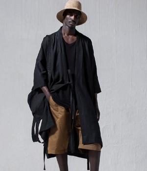 JAN JAN VAN ESSCHE - KIMONO#8 - BLACK LINEN/PAPER CLOTH