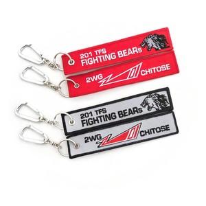 201飛行隊 刺繍フライトタグ  赤 / 黒(グレーベース)