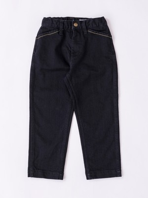 wide tapered denim pant -BLK