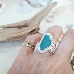 【11号】silver925 seaglass ring -side heart-