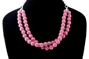 ラインストーンパヴェボールネックレス pve-neckrose51 ローズ(ピンク) パヴェ キラキラ
