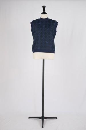 【Mame Kurogouchi】Paisley Jacquard Knitted Vest - navy