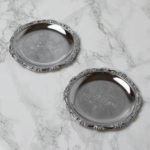 ステンレス製 薔薇柄 小皿 2枚セット