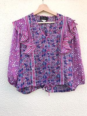 Diane freis purple floral print tops