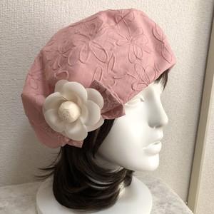 お生地たっぷりベレー帽 シャンタンふくれ柄ピンク