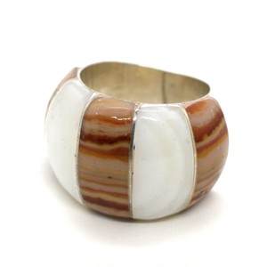 Vintage Sterling Silver Mexican Stripe Agate Ring