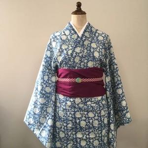 インド綿の二部式浴衣 おはしょり付き 藍色に浮かぶ白い花