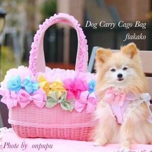 2kgサイズ〜ドッグキャリー リボン付きカゴバッグ ♡おんぷちゃんのメルヘンピンク♡
