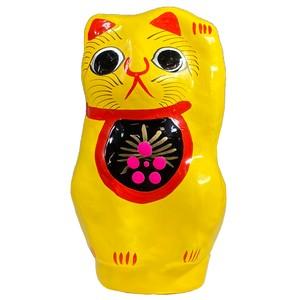【金運繁栄・縁結び】張り子招き猫(黄)