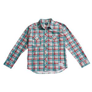 プリントネルシャツ レッド/グリーン