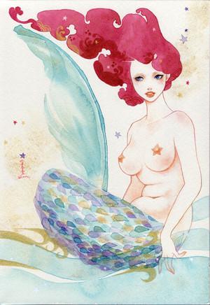 sioux 透明水彩 数量限定 複製原画 [人魚の歌 2番目の姉 Mermaid song 2nd sister]人魚姫 マーメイド