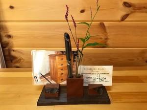 現品限り《デザインE》木製~ペン&メモスタンド~一輪挿しにも…♪