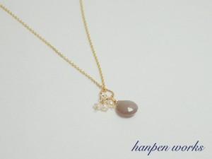 14kgf 宝石質グレームーンストーン 淡水パール ネックレス