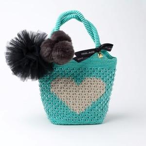 "Hand Knitted Crochet Bag ""STUNNING HEART"" Turquoise x Beige  DBB0006"
