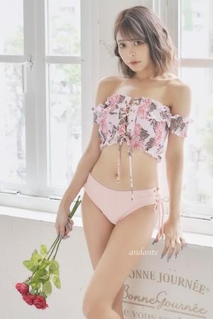 【人気NO.20】オフショル花柄☆シャーリング水着ピンク  21j
