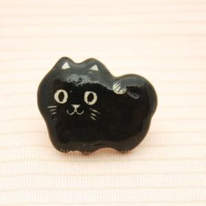 <猫>にんまり猫帯留め(黒猫)