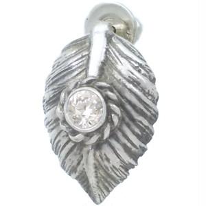 (4月)ジルコニア ブラック ネイディブ ハート フェザー  シルバー ピアス 誕生石*BE-1037