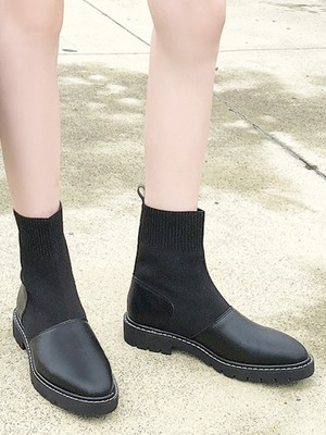 【shoes】Joker flat elastic boots