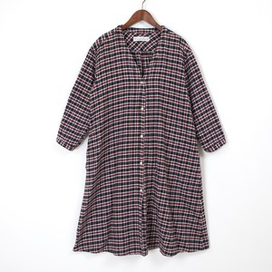 twill check long onepiece / black