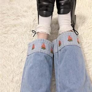 2色/ストロベリー刺繍デニムパンツ ・15336