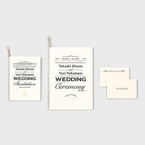活版印刷の招待状・席次表・席札セット MONOCHROME モノクローム 70部