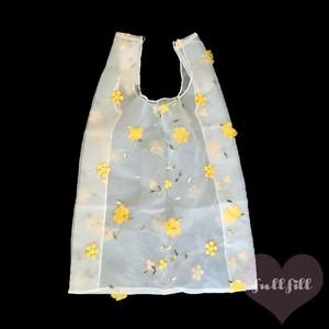 【再入荷】オーガンジーお花刺繍バッグ エコバッグ