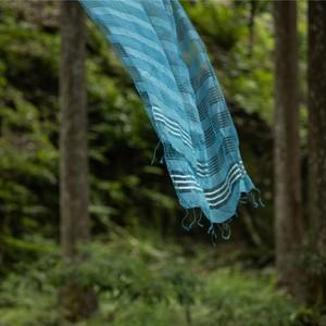 藍生葉染めシルクボーダーストール