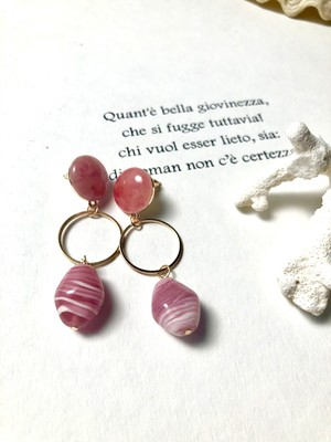 Orientaly Ⅱ pink stone pierce (オリエンタリー2 ピンクストーン ピアス)