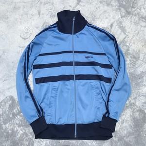 80's 90's adidas アディダス トラックジャージ ネイビー ライトブルー トレフォイル 万国旗タグ S ビンテージ  希少