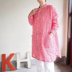 ゆらぎギンガムチェック  アトリエシャツ八分袖  01S31 サイズ2