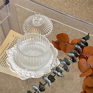crystal accessory case B / ヴィンテージ アンティーク調 蓋つき クリスタル アクセサリー ケース トレー 韓国 北欧 雑貨