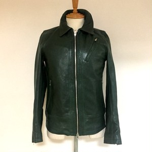 Sheep Leather Vegetable-Tanning Single Riders JKT Green