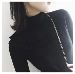 frill design turtleneck knit (black) (t_10)