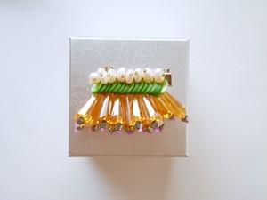 【ヘアクリップ】フリンジキャンディ・黄緑×オレンジ