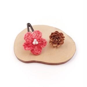 段染め小花のパッチンピン*レッド
