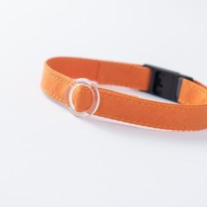 【猫にやさしい布首輪】キャロットオレンジ 軽量3g やわらか 安全 シンプル ペットシッター考案