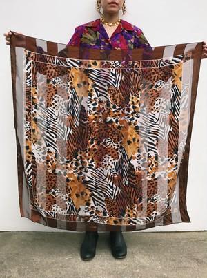 80s leopard animal see-through  scarf ( ヴィンテージ レオパード シースルー スカーフ )